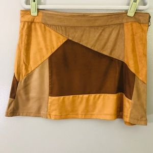 NY&CO faux suede patchwork mini skirt NWOT